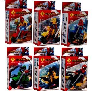 اسباب بازی ابر قهرمانان طرح مرد عنکبوتی موتور سوار کد 89116 مجموعه 6 عددی